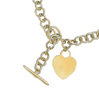 14k Hollow Rolo Heart Tag Necklaces