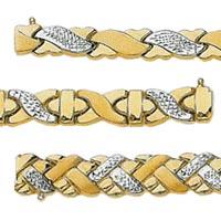 14k Crystal Cut Stampato Set Bracelets