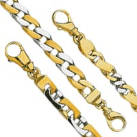 14k Fancy Two Tone Gold Link Bracelets