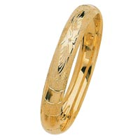 Lazer Inscribed Hollow Gold Bangles