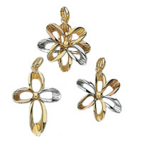 14k Tri Color Flower Pendants