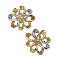 14k Tri Color Flower Earrings