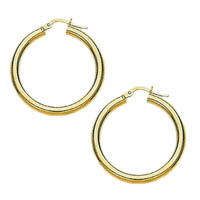 14k Italian Plain Hoop Earrings