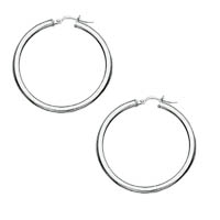 14k Italian White Gold Plain Hoop Earrings
