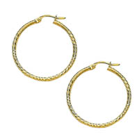 14k Italian Diamond Cut Hoop Earrings