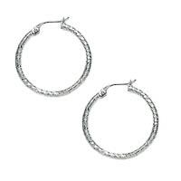 14k Italian White Gold Diamond Cut Hoop Earrings