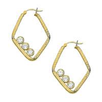 14k Cubic Zirconia Hoop Earrings