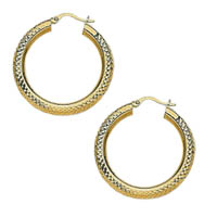 14k Crystal Cut Hoop Earrings
