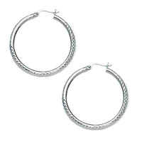 14k White Gold Crystal Cut Hoop Earrings