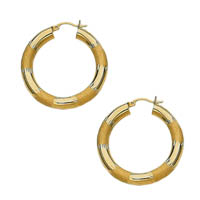 14k Diamond Cut Tube Hoop Earrings