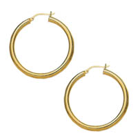 14k Plain Tube Hoop Earrings