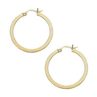 14k Flattened Tube Hoop Earrings