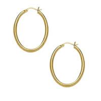 14k Oval Shaped Tube Hoop Earrings