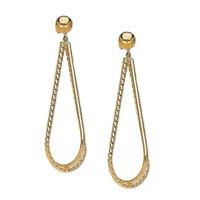 14k Tear Drop Tube Hoop Earrings