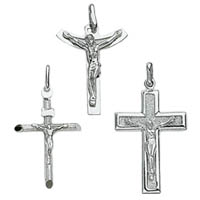 14k Italian White Gold Crucifix Crosses