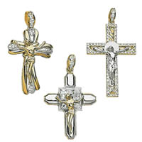 14k Cubic Zirconia Crucifix Crosses