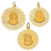 14k Italian Two Sided Religious Medallions