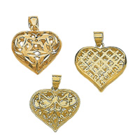 14k Filligree Heart Pendants