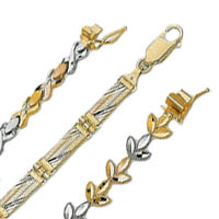 14k TriColor Diamond Cut Bracelets